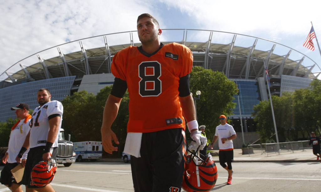Cincinnati Bengals quarterback Joe Licata walks to the practice field on Thursday, Aug. 11, 2016. (Harry Scull Jr./Buffalo News)