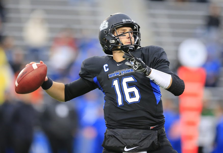 Buffalo quarterback Joe Licata throws against Ohio during action at the University at Buffalo on Saturday, Oct. 24, 2015.  (Harry Scull Jr./Buffalo News)